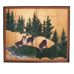 Two Panel Screen Painting of Deer in a Pine Landscape.