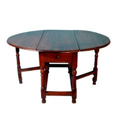 Rare English Yew Wood Dropleaf Table