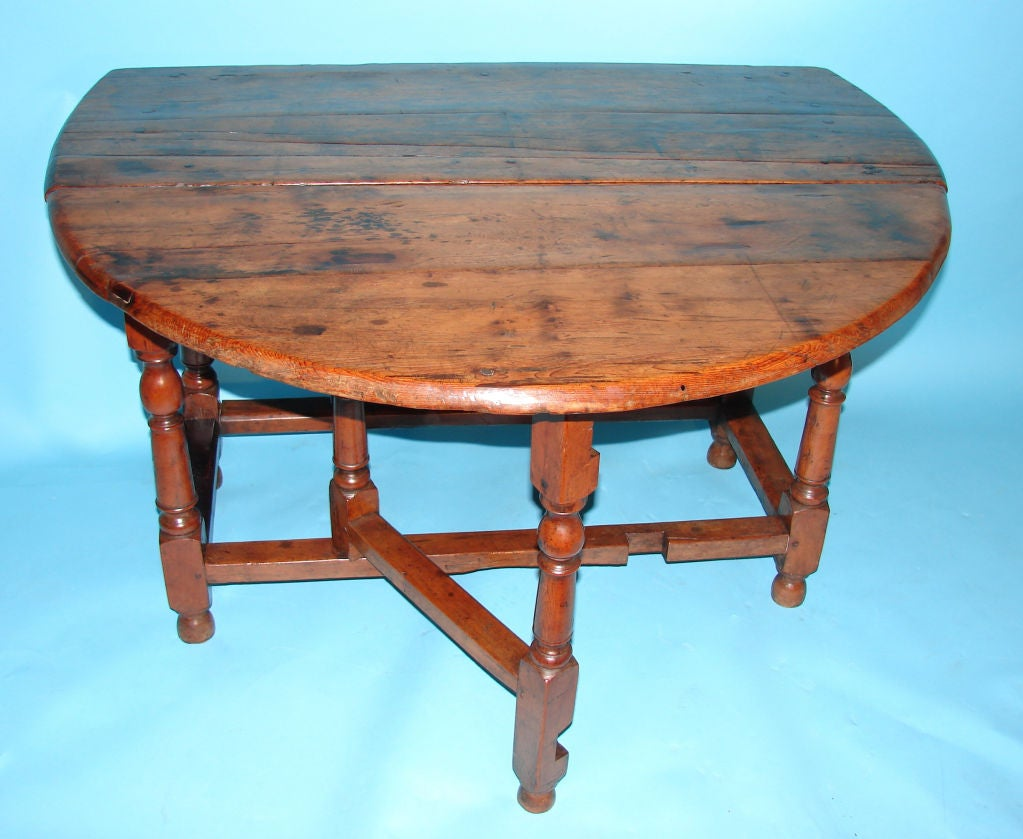 Rare English Yew Wood Dropleaf Table at 1stdibs