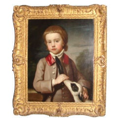 Irish portrait of a boy and dog