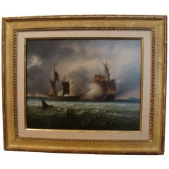 Oil on Copper by Perrot Of Anglo-American Naval Battle