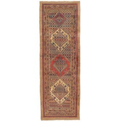 19th Century Bidjar Gallery Runner with Folk Art Border Design