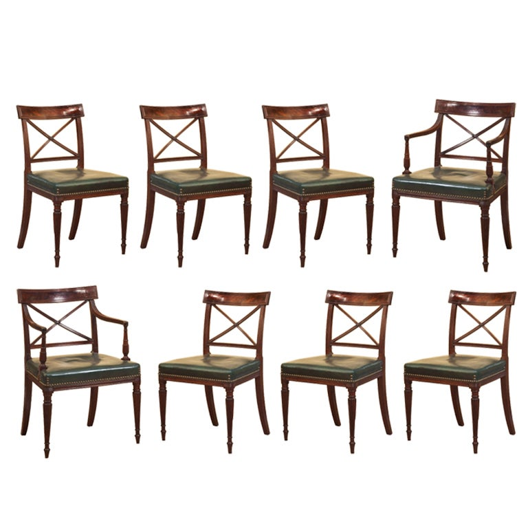 Set Of Eight Regency Dining Chairs At 1stdibs
