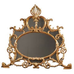 Chippendale Carved Overmantle Mirror