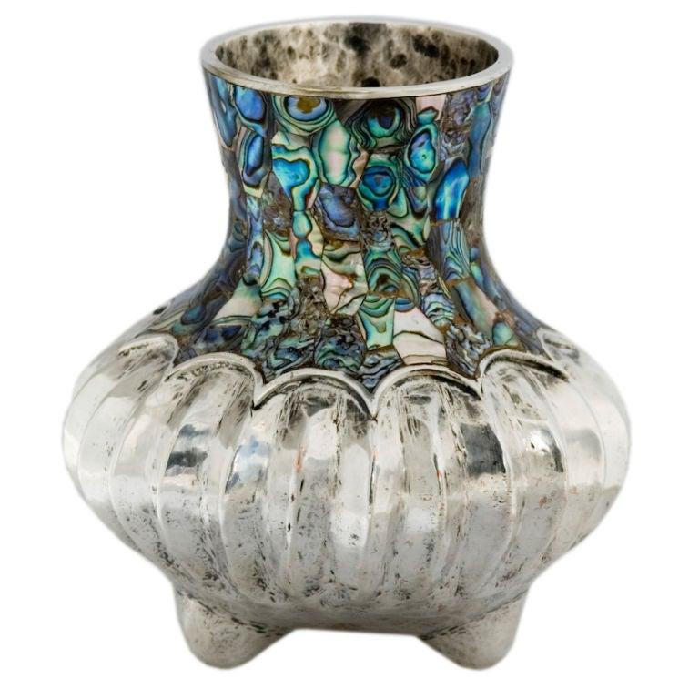 Los Castillo Abalone Silverplate Mexican Melon Vase At 1stdibs