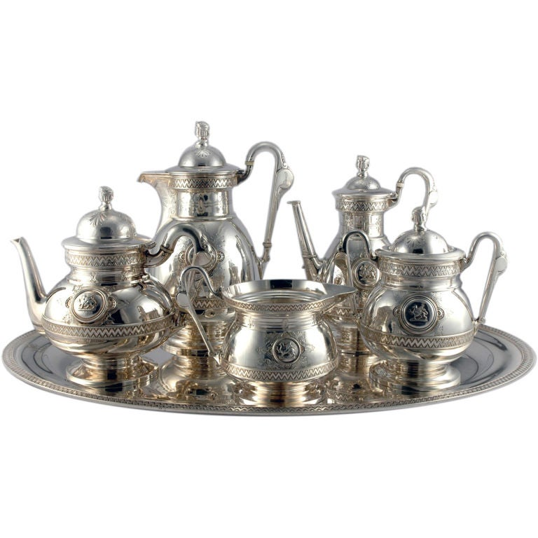Wendt Sterling Silver Egyptian Revival Tea Coffee Set At