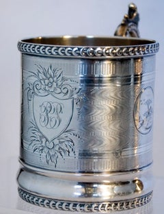 Wilson Coin Silver Cup Engine Turning Rococo Revival