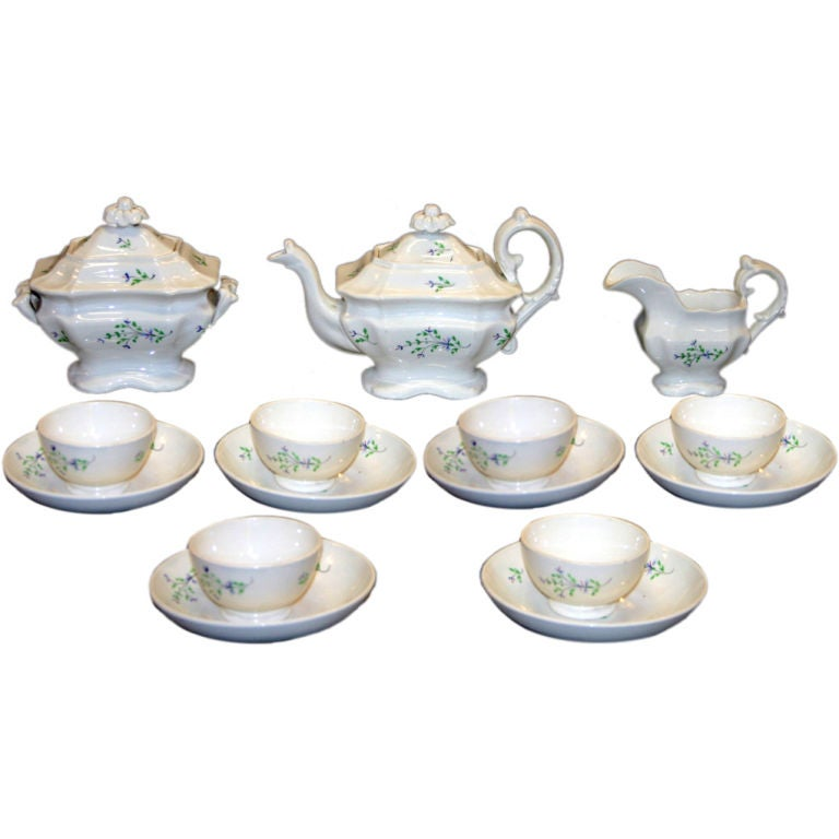 English Staffordshire Sprig Ware Pottery Child's Tea Set 1