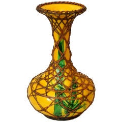 Antique Rattan Wrapped Awaji Pottery Vase with Incised Bamboo