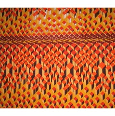 "Mid 1960's English ""op art"" silk screened cotton"