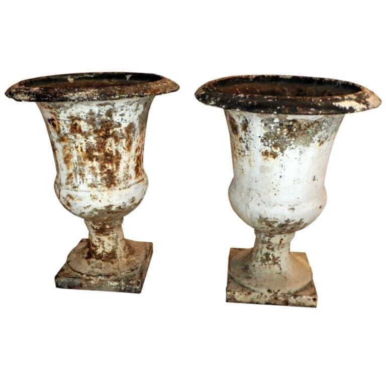 Pair of Directoire Painted Garden Urns