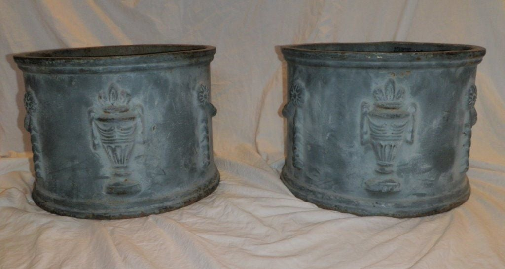 Pair of faux lead planters at 1stdibs for Lead planters for sale