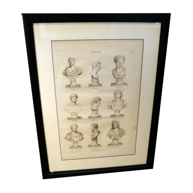 Framed 18th Century Engravings of Busts