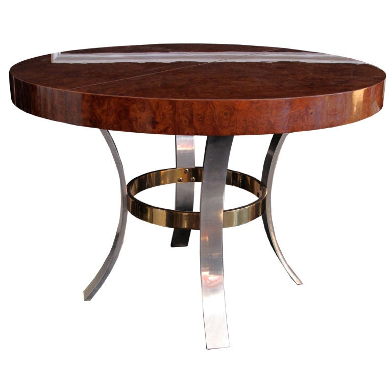 Beautiful round burl wood dining table at 1stdibs for Beautiful round dining tables