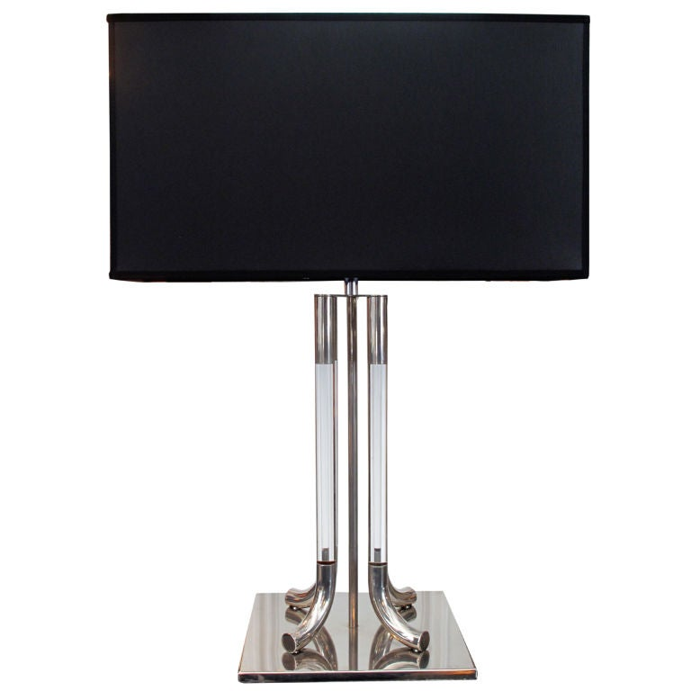 stainless steel and lucite column table lamp at 1stdibs. Black Bedroom Furniture Sets. Home Design Ideas