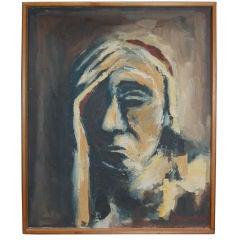 Swedish Mid-Century Abstract Portrait by Lillemor Bjork