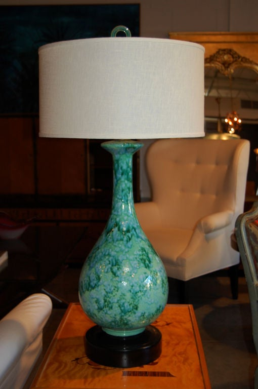Mid Century Modern Ceramic Spatter Glazed Vase Table Lamp