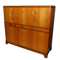 Swedish Art Deco Intarsia Storage, Bar Cabinet