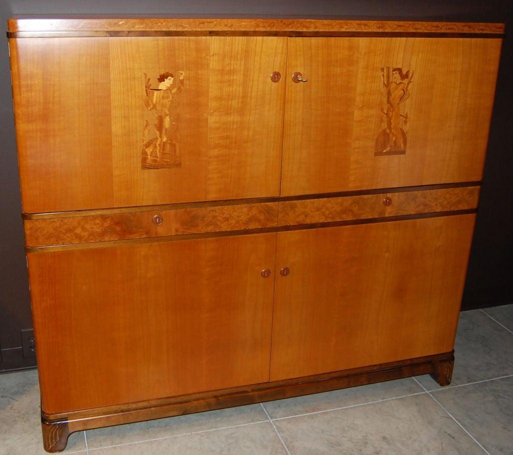 Swedish Art Deco Intarsia Storage, Bar Cabinet In Excellent Condition For Sale In Atlanta, GA