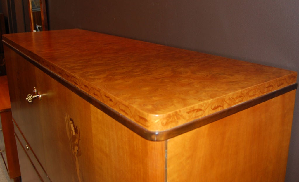 Swedish Art Deco Intarsia Storage, Bar Cabinet For Sale 3