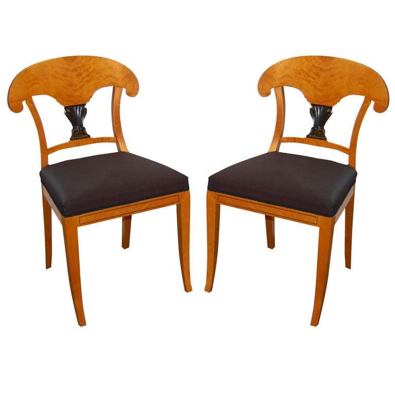 Pair Of Elegant Swedish Biedermeier Side Chairs At 1stdibs