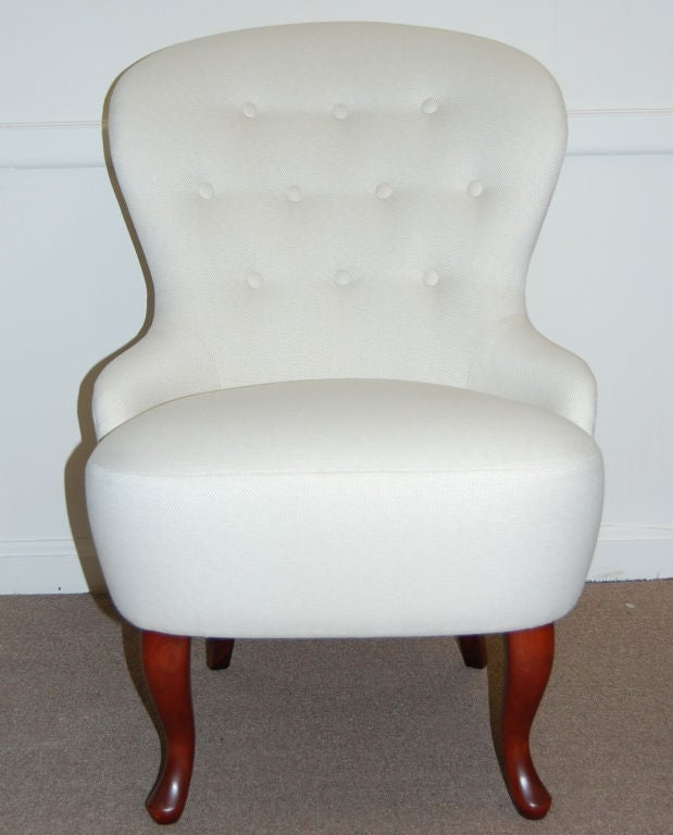 Vintage swedish slipper chair in jim thompson fabric at 1stdibs
