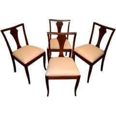Set of Four Swedish Art Deco Birch Intarsia Dining Chairs