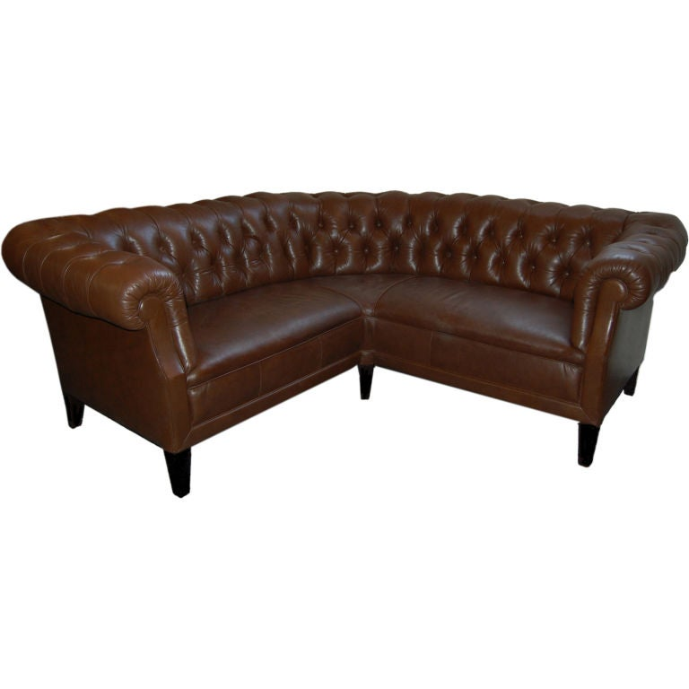 swedish leather chesterfield style corner sofa banquette at 1stdibs. Black Bedroom Furniture Sets. Home Design Ideas