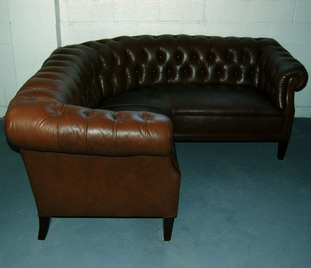 Swedish Leather Chesterfield Style Corner Sofa Banquette at 1stdibs