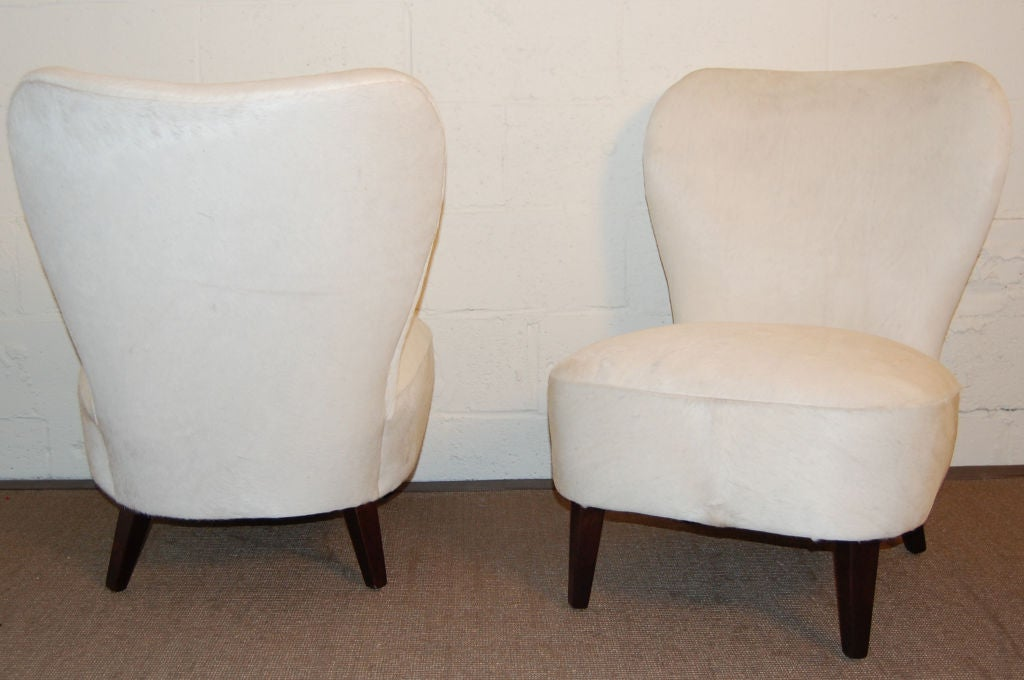 sale pair of moderne slipper chairs in white hair on