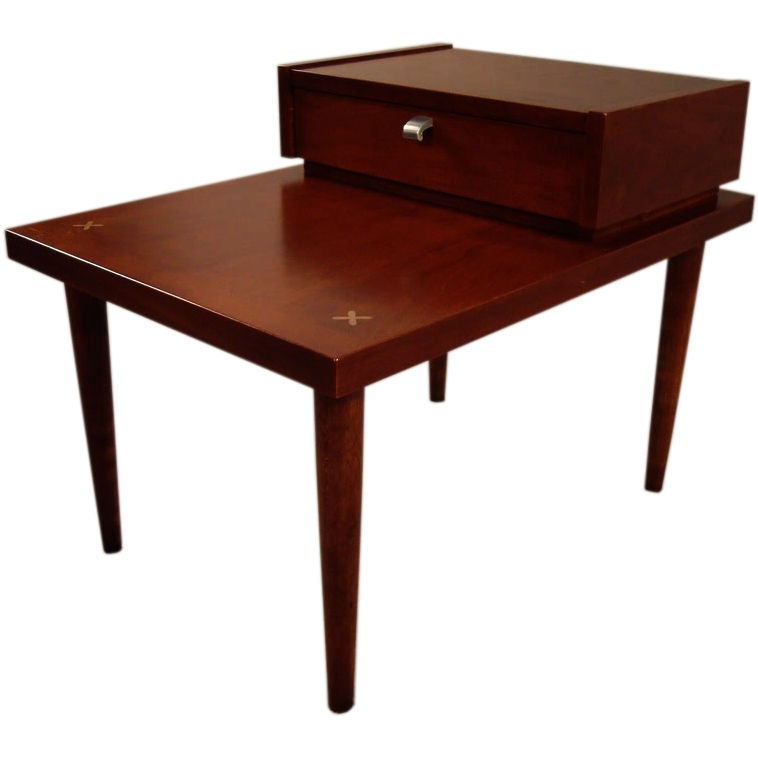 mid century modern american of martinsville teak end table. Black Bedroom Furniture Sets. Home Design Ideas