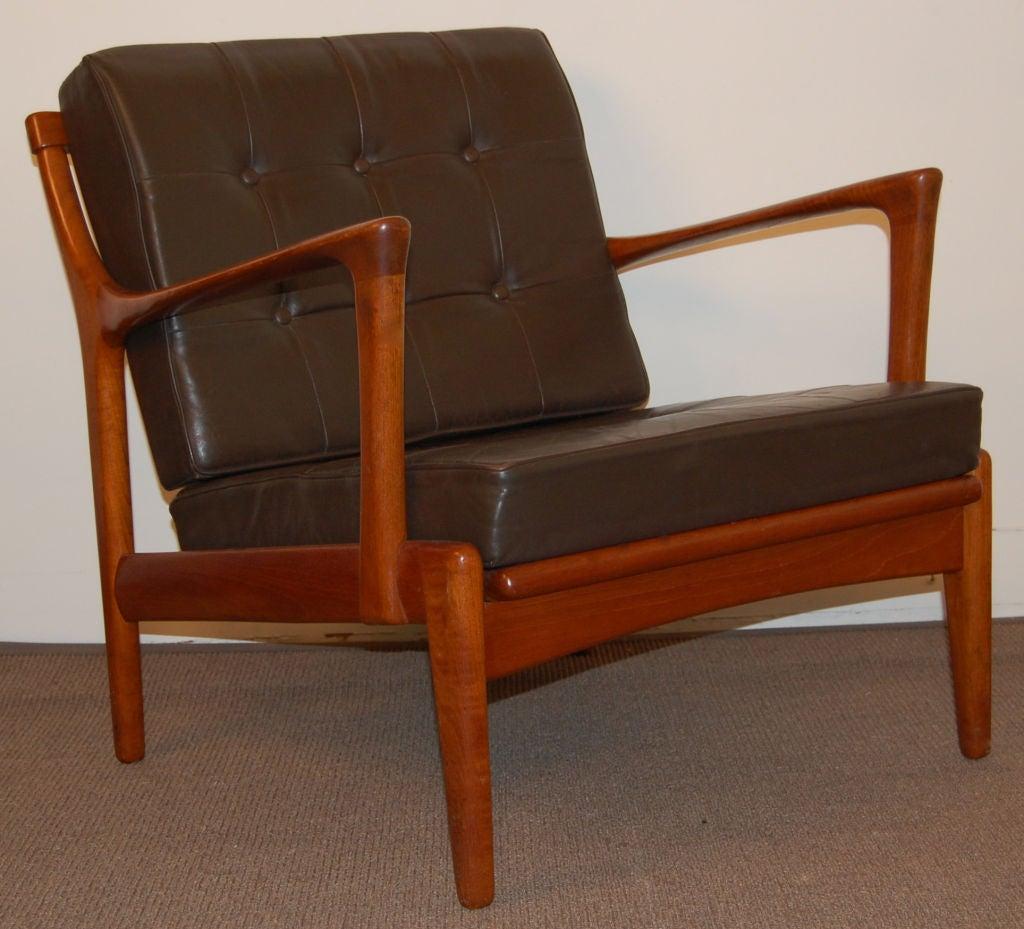 Swedish Mid Century Modern Teak and Leather Lounge Arm