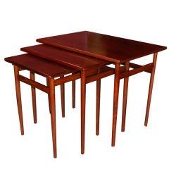Set of Three Swedish Modern Rosewood and Teak Nesting Tables