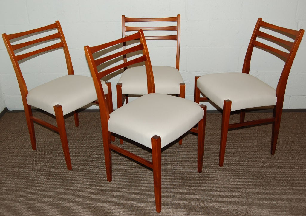 set of four swedish mid century modern teak dining chairs for sale at