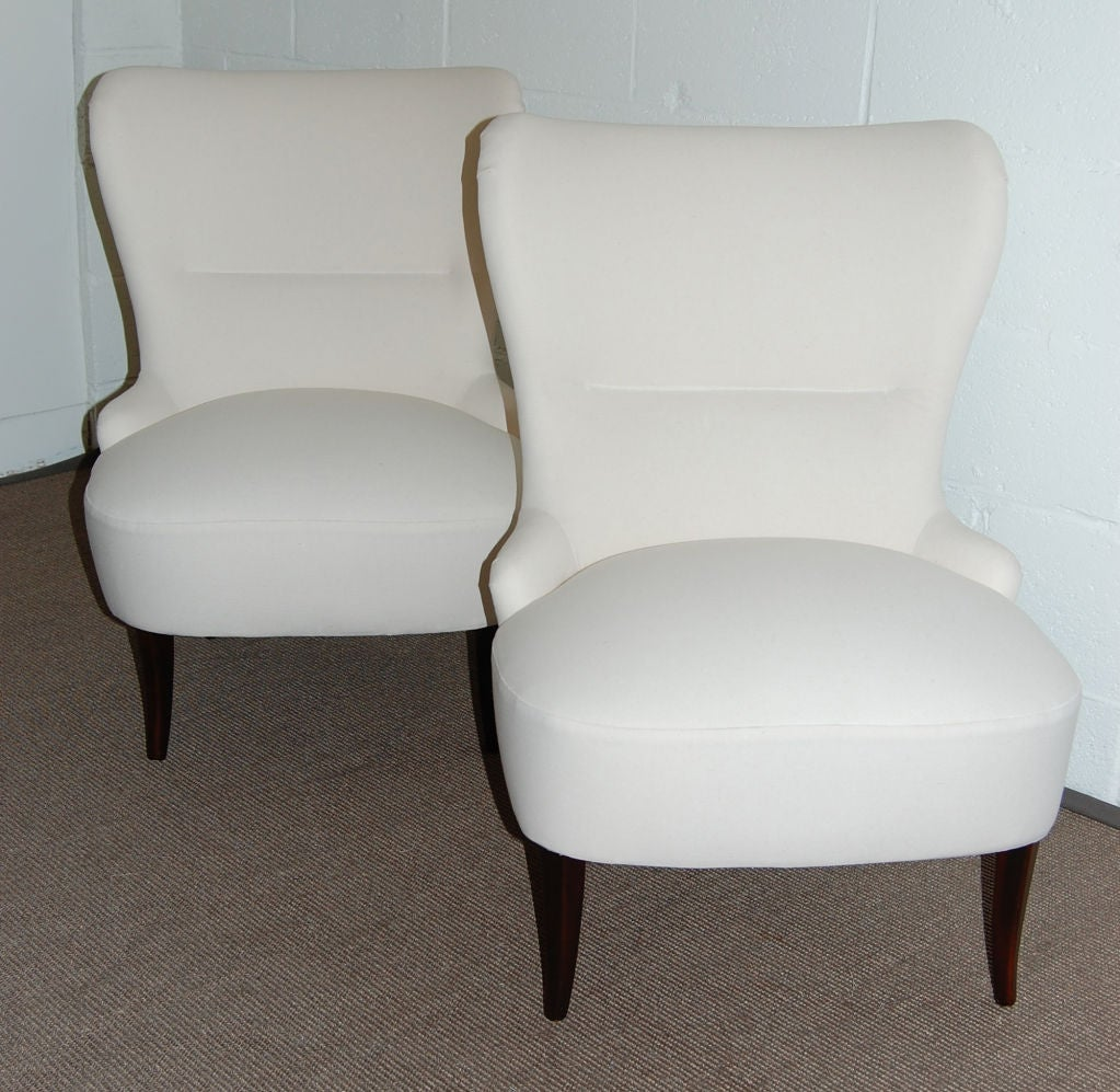 sale pair of swedish moderne slipper chairs ready