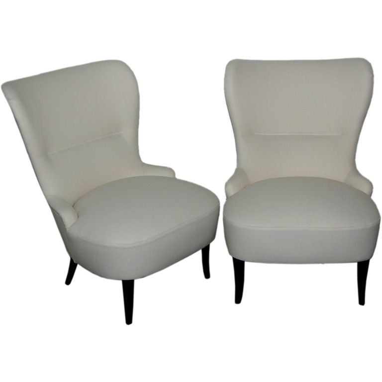Sale Pair of Swedish Art Moderne Slipper Chairs, Com Ready
