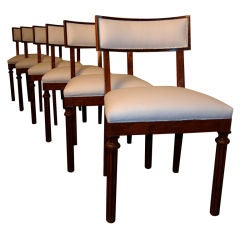 Set of Six Swedish Art Deco Flame Birch Dining Chairs