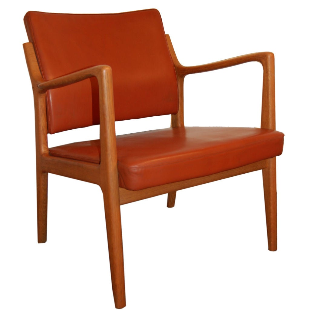 Modern wood chair with arms -  Sale Modern Leather And Teak Arm Chair By Karl Erik Ekselius 1