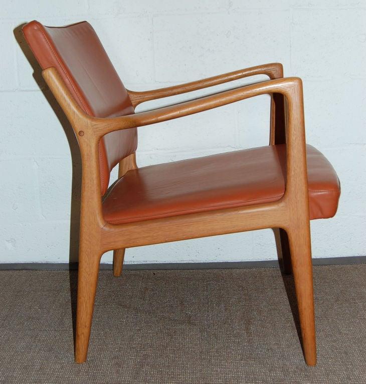 *SALE*  Modern Leather and Teak Arm Chair by Karl-ErikEkselius 1