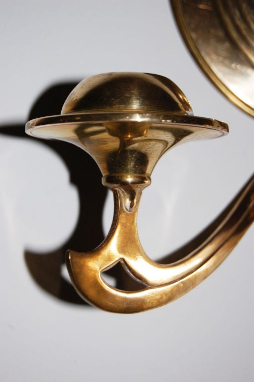 Pair of Swedish Brass Wall Candle Sconces or Appliques at 1stdibs