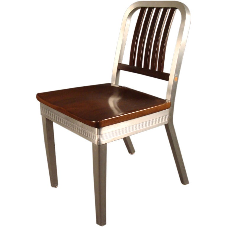 shaw walker wood and aluminum side chair at 1stdibs