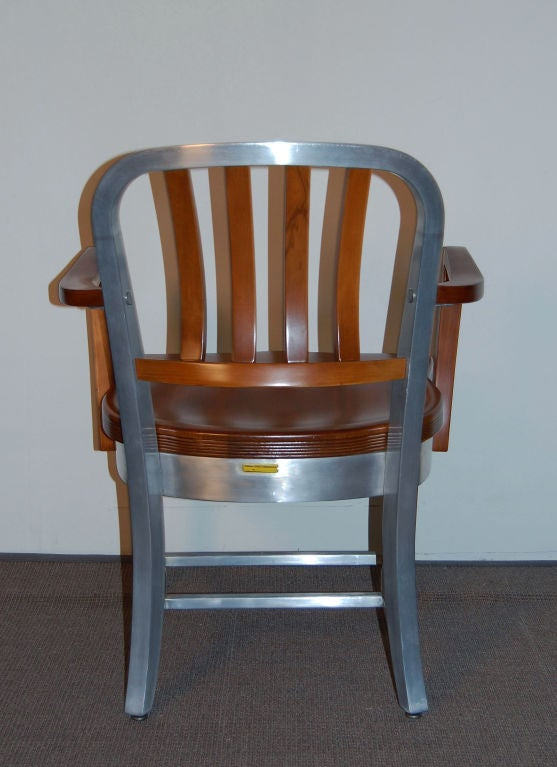 Shaw Walker Model 8312 Restored Wood And Aluminum Arm Chair At 1stdibs