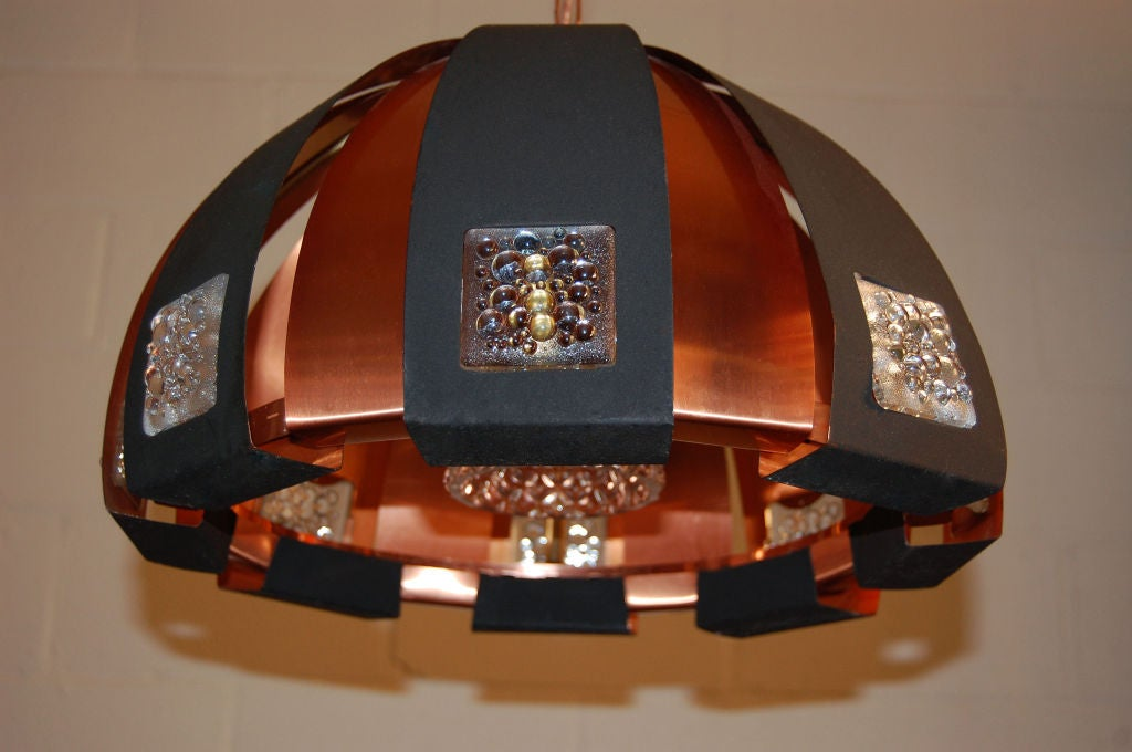 Swedish Modernist Dome Pendant Chandelier by Verner Schou In Excellent Condition For Sale In Atlanta, GA