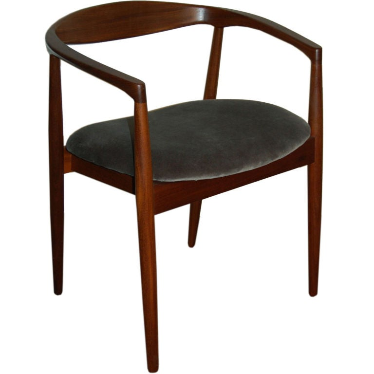 Sale danish mid century modern teak arm chair at 1stdibs for Mid century modern upholstered chair