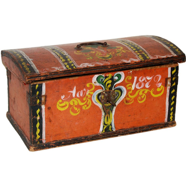 Small Folk Art Painted Chest Dated 1872 At 1stdibs