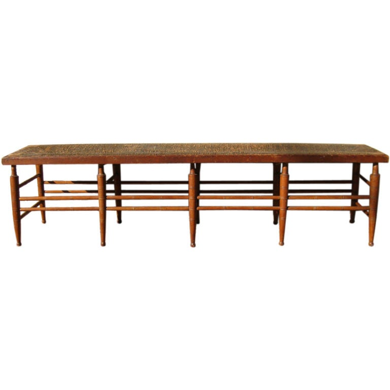 Early 19th Century American Rush Seat Bench At 1stdibs