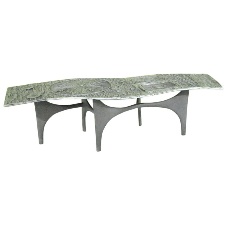 A Cast Aluminum Coffee Table By Donald Drumm At 1stdibs