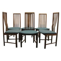 Set of Six Oak Tall Back Danish Modern Dining Chairs