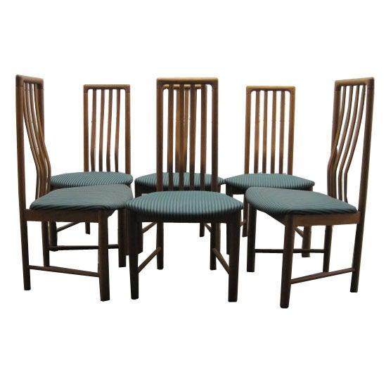 Set of six oak tall back danish modern dining chairs for for Modern oak dining chairs