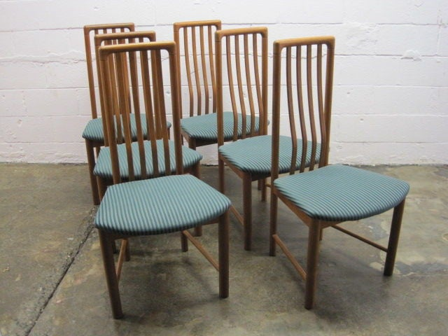 set of six oak tall back danish modern dining chairs for